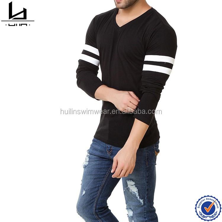 e2bf44ed5d3 2017 new design basketball men t shirt v neckline full sleeves black plain t -shirts