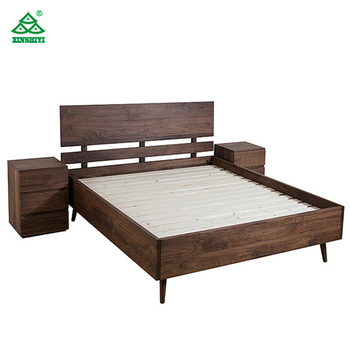 Nordic Minimalist Modern Wood Bed Frame Black Walnut King