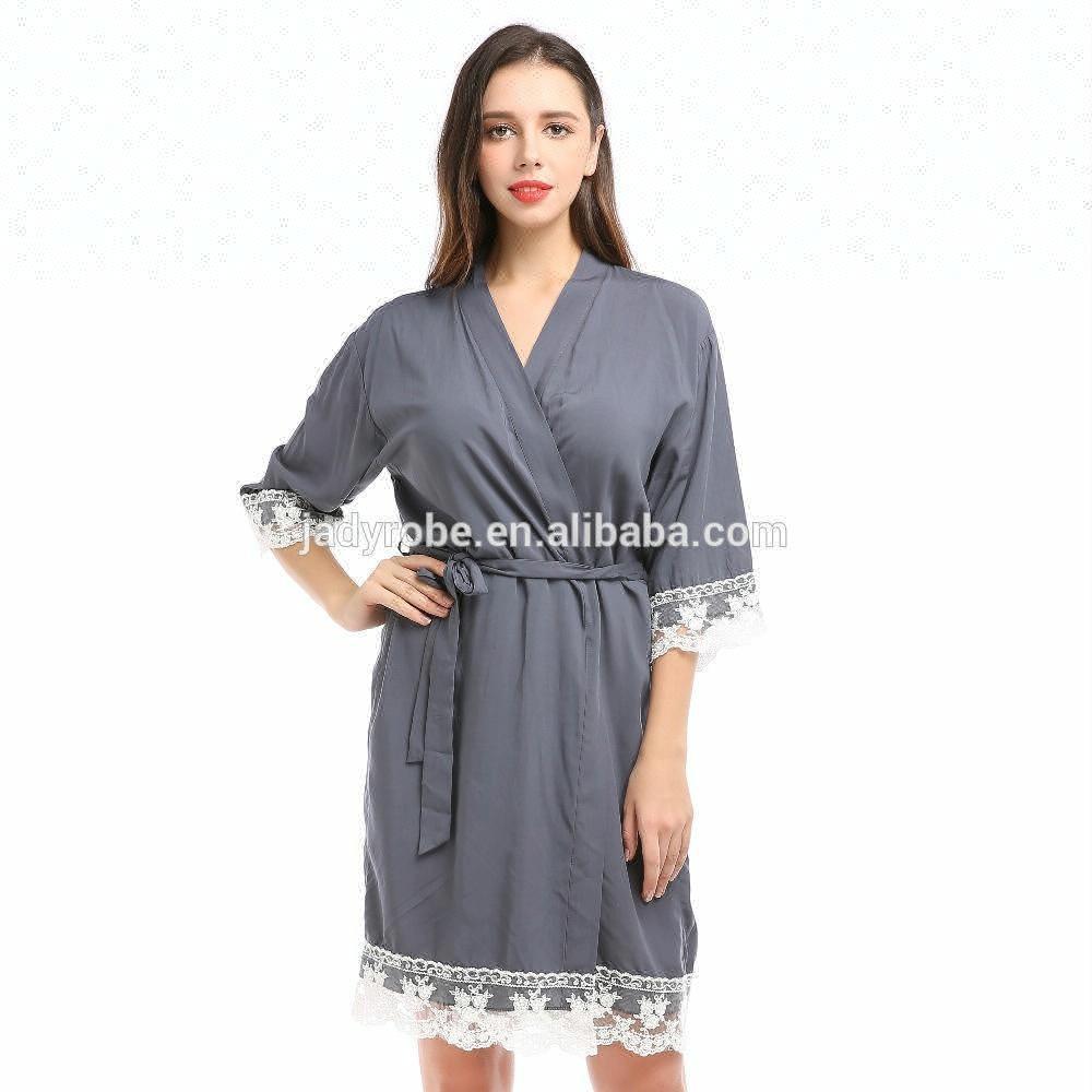 3abd7de03a In magazzino kimono accappatoio delle donne veste di cotone abiti di pizzo  per la sposa
