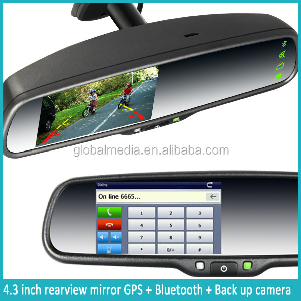 4 3 Inch Car Smart Mirror Gps Navigator With Backup Camera Display