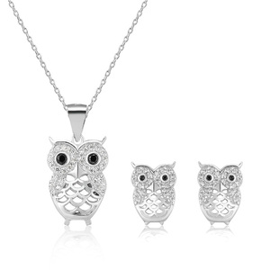 2 pieces jewelry set 925 sterling silver high quality owl jewelry set
