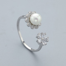 925 sterling silver fashion flower pearl open ring