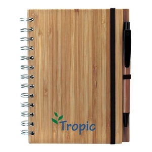 Natural Durable Spiral Bamboo Notebook Bamboo Pen With Black Trims Elastic Pen Loop Elastic Closure 80 Lines Recycled Pages