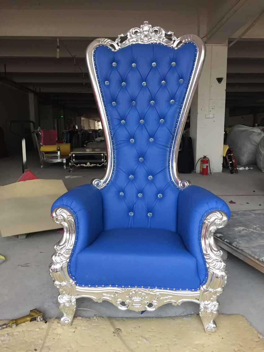 Different Color King Chair Luxury Silver Trim Throne Chair