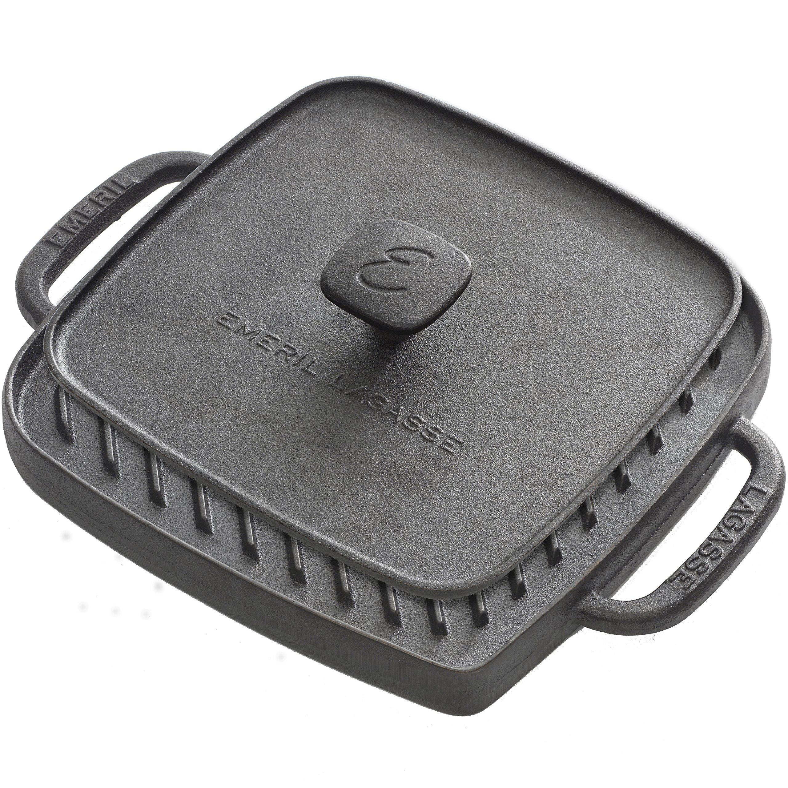 Emeril Lagasse 62990, pre-seasoned cast iron single burner reversible grill griddle with large grill press, black