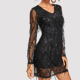 Shinny V-neck Sequin Mesh Overlay party short Dress for night out