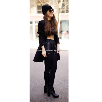 516e071d5 Girls custom cotton spandex plain black inner spring fashion crop top and  leather shorts set