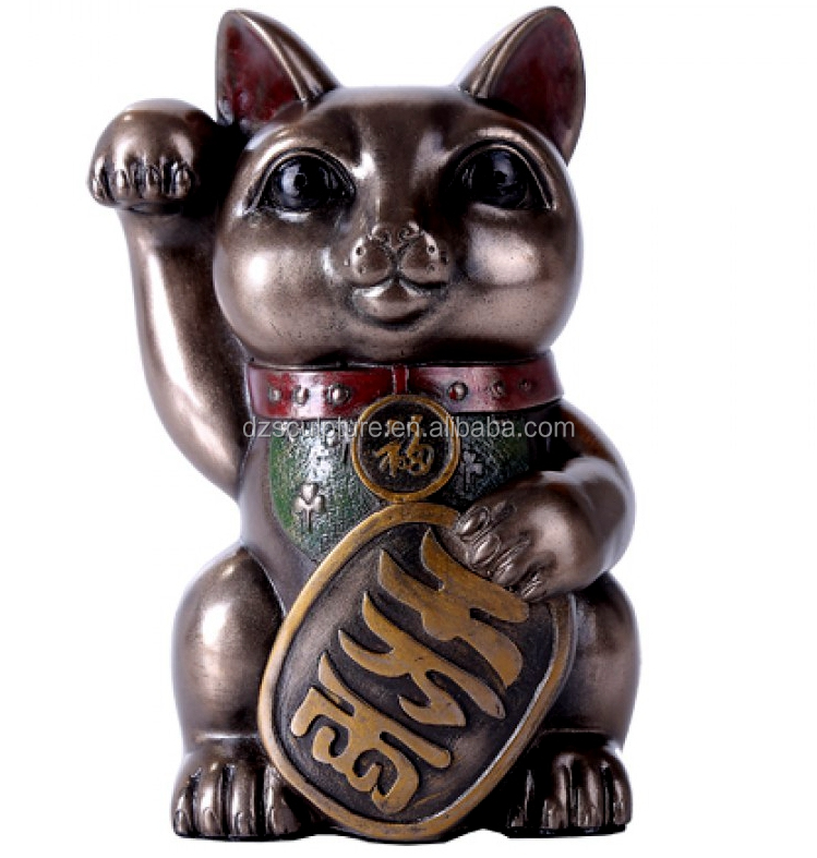 Chinese mascot resin fortune cat statue for home and shop decoration