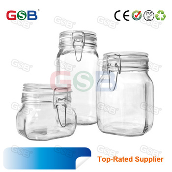 Embossed Logo Glass Square Honey Jars Food Herb Storage Container