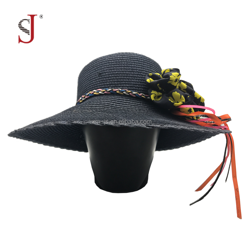 Summer Fashion Sun Protection Wide Brim Bucket Hat Woman Cap Straw Hat Beach Hat With Flowers