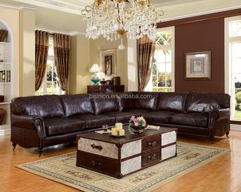 Bisini Luxurious Genuine Leather Living Room Sofa Durable Furniture Moq 1