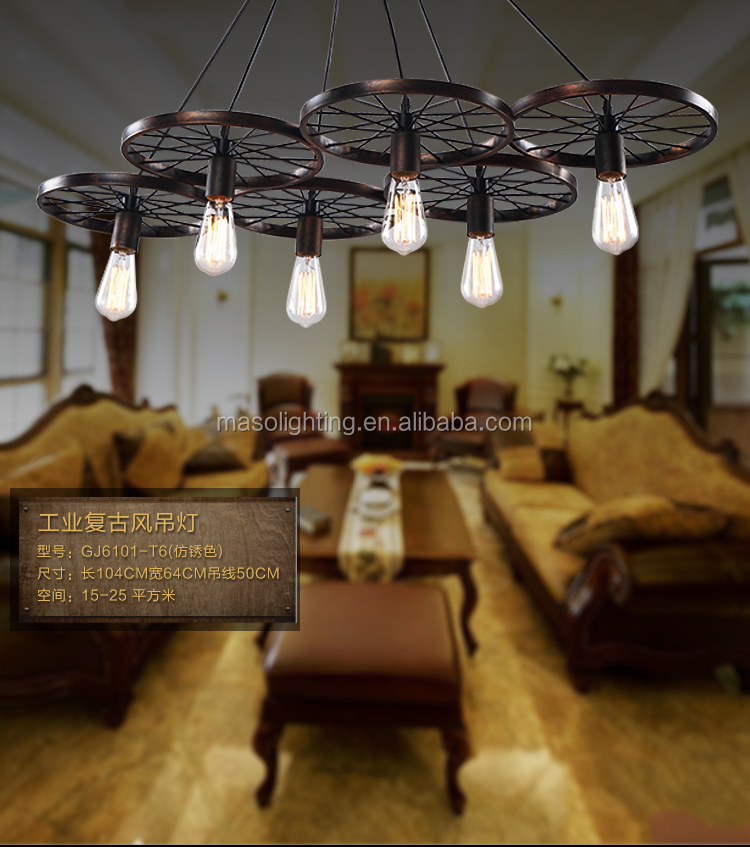 American Country Industrial style Pendant Lamp Vintage Retro Metal Indoor Hanging Lamp E27/E26