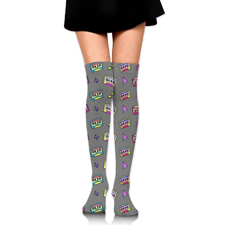 Zaqxsw Retro Cassette Women Graphic Thigh High Socks Cotton Socks For Womens