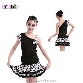cb5d280c2 Los Niños Polka Dot Traje De Niñas Desigual Vestido De Baile Latino ...