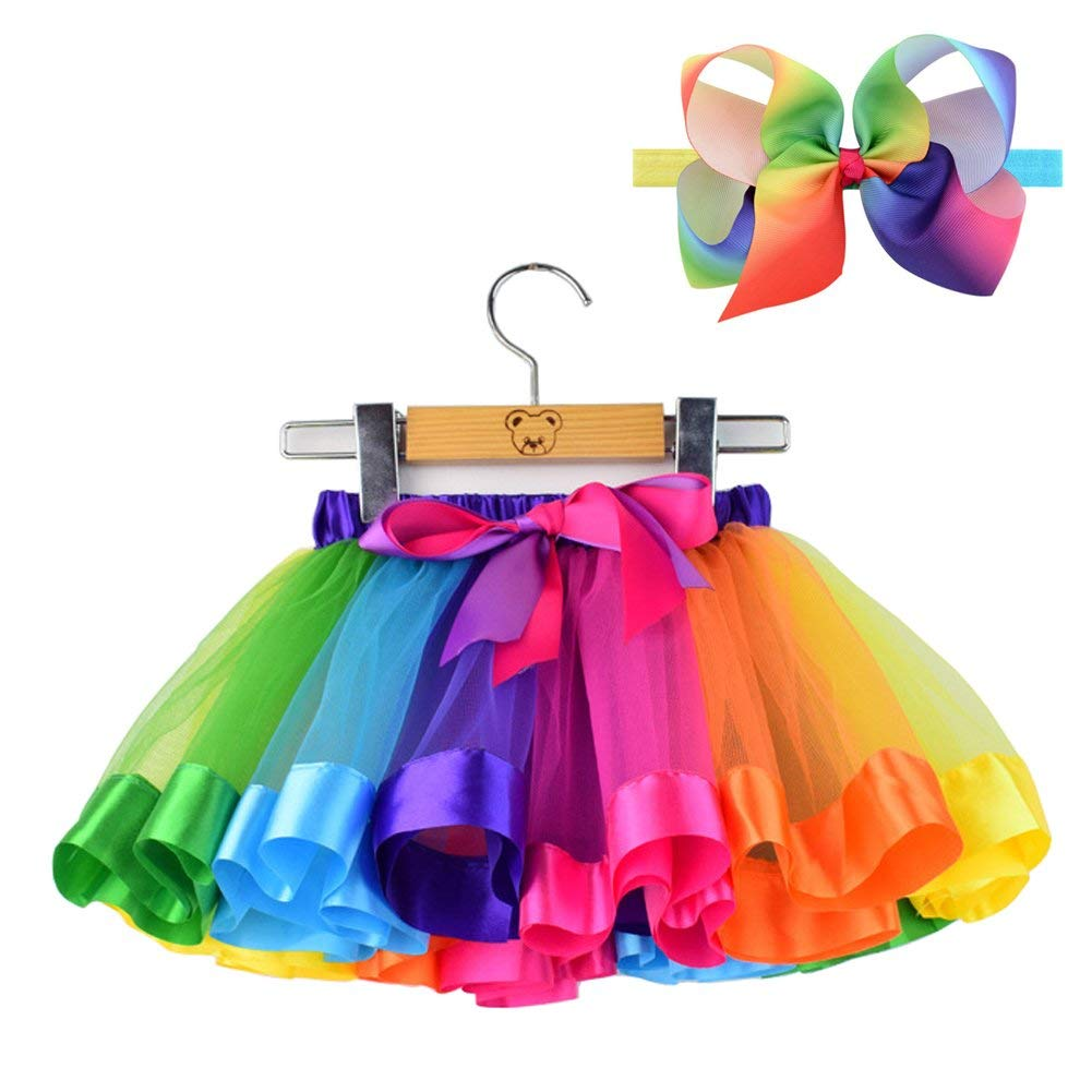 eb756c113d512 Get Quotations · Bingoshine Tulle Rainbow Tutu Skirt for Newborn Baby Girls  Photography Outfit Sets Baby Girls 1st Birthday