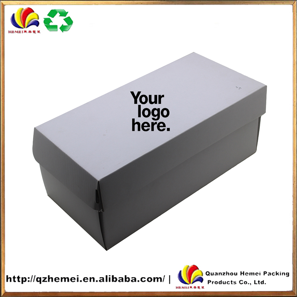 Customized recycle white cardboard shoe box with your logo