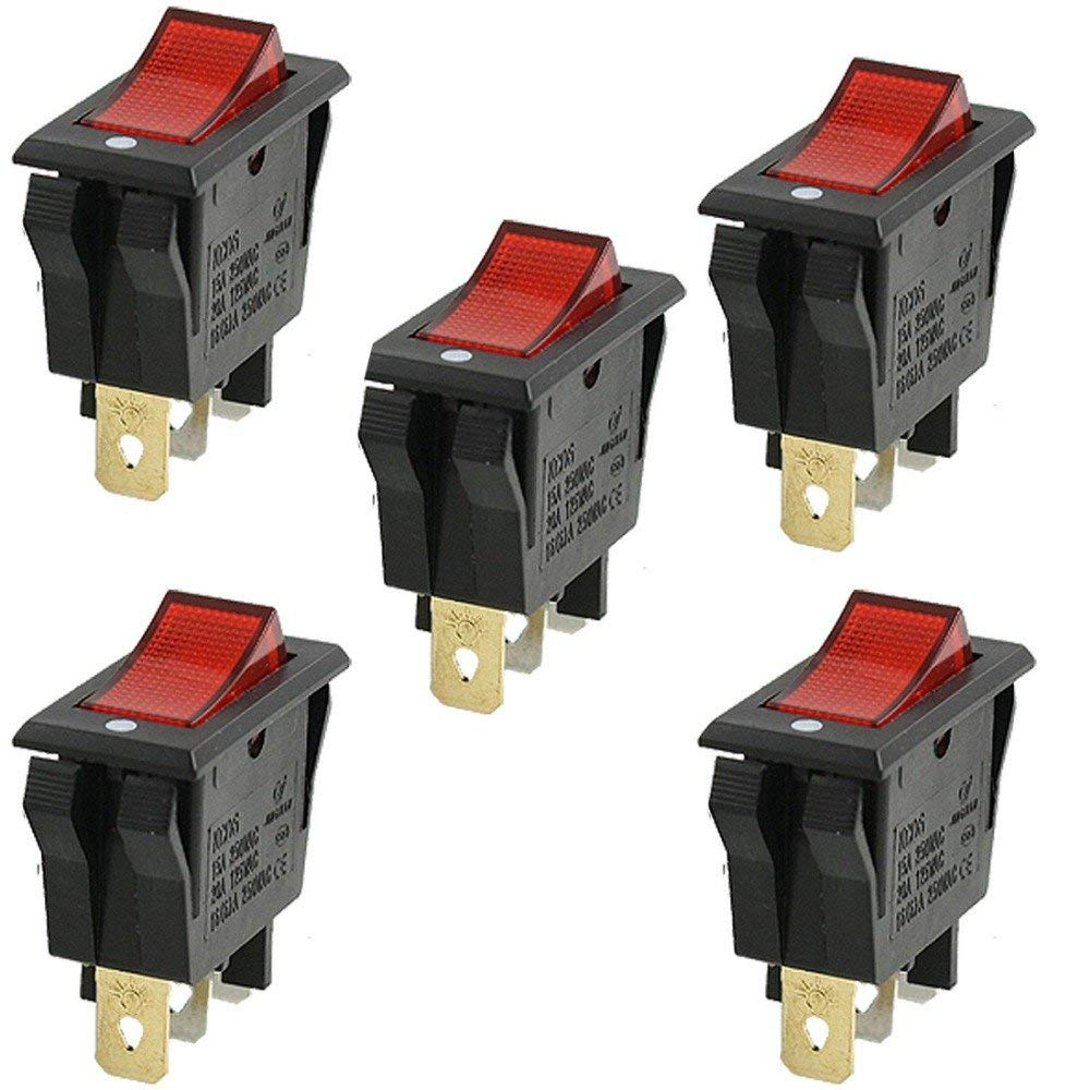 TOLOVI 5 Piece/Lot Red AC15A/250V 20A/125V ON-Off 2 Position SPST Boat Rocker Switch 3 pins