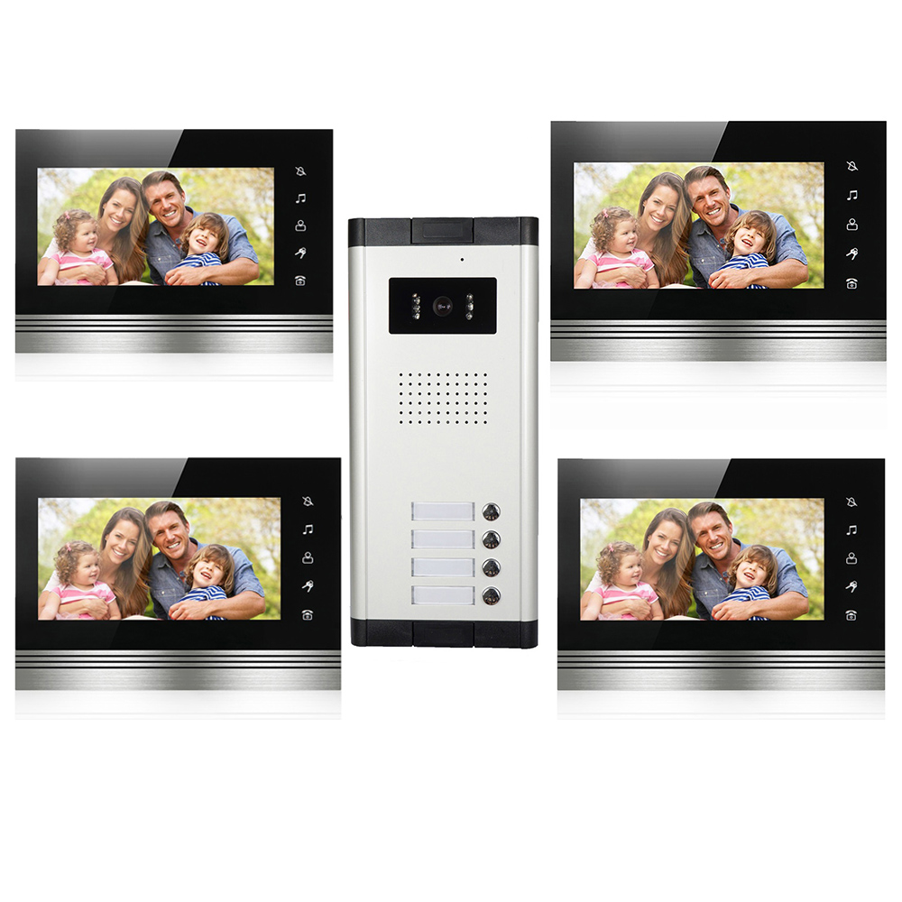 Multi Apartment Building Video Tntercom System 7'Inch Color Screen Dual-way Intercom And Night Vision Camera