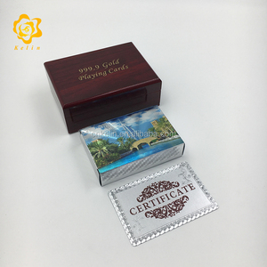 High quality red wooden box package pure silver customized casino playing cards with certification offerred