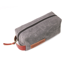 Waxed Canvas Dopp Kit Bag travel for men with leather handle