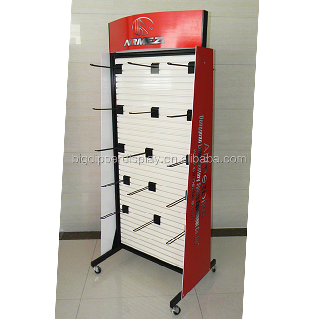 BDD-S016 custom retail sports equipment bicycle accessory display shelf hanging product rack display