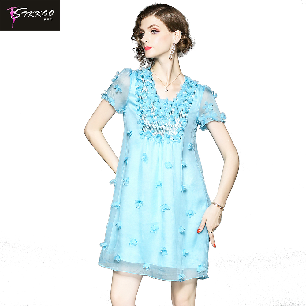 Hand Beaded Flower Embroidery Loose A Line Dress
