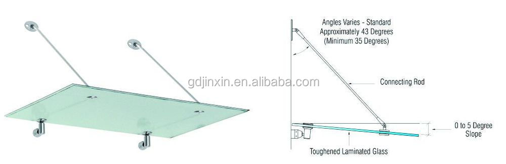 Modern Stainless Steel Glass Canopy Fittings For Glass