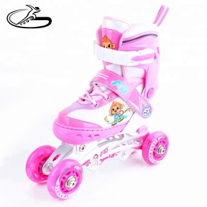 2018 Alibaba New arrive adjustable kids 3 in 1 inline skates shoes with pink and blue color