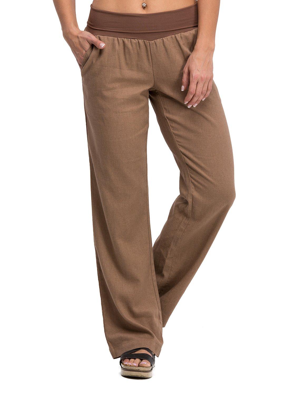 3ac03592a28 Get Quotations · Poplooks Women s Comfy Fold Over Linen Pants