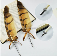 Vintage Owl Feather Pen Refined Plated Rod Quill Ballpoint Pen for wedding signature