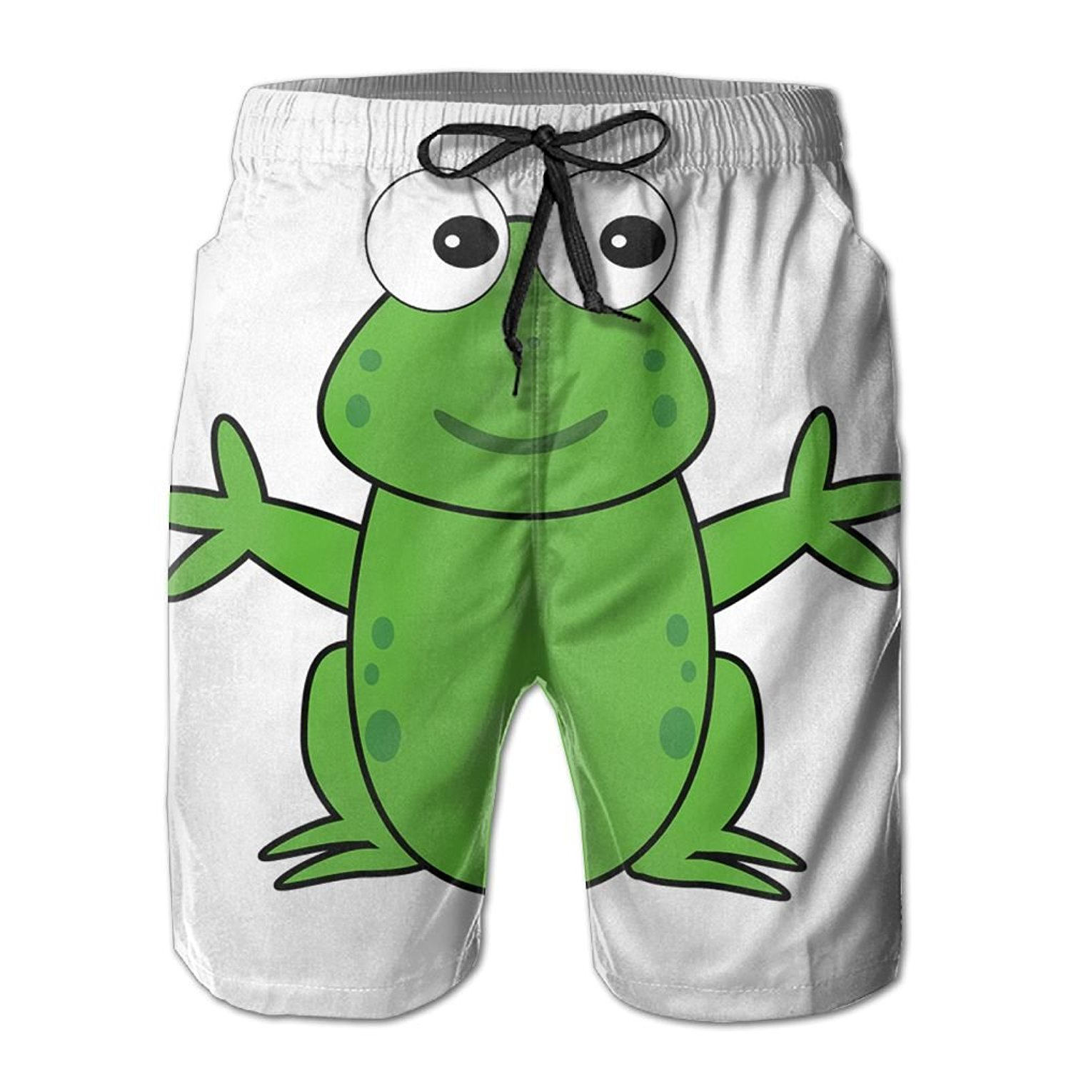 Frog Cute Mens Classic Summer Shorts Casual Swim Shorts with Pockets
