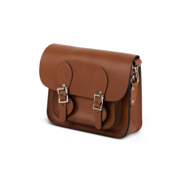 Classic  tan leather women mini satchel bag