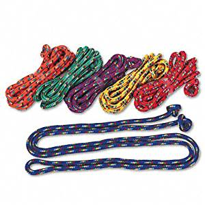 Champion Sports : Braided Nylon Jump Ropes, 8-ft., 6 Assorted Color Jump Ropes per set -:- Sold as 2 Packs of - 6 - / - Total of 12 Each