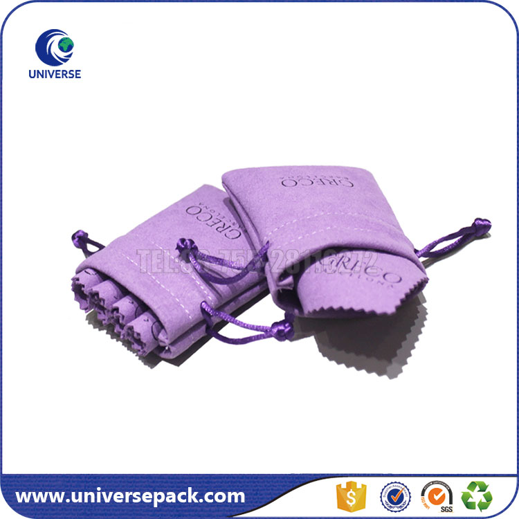 High Quality Purple Small Jewelry Suede Gift Pouches With Custom Logo