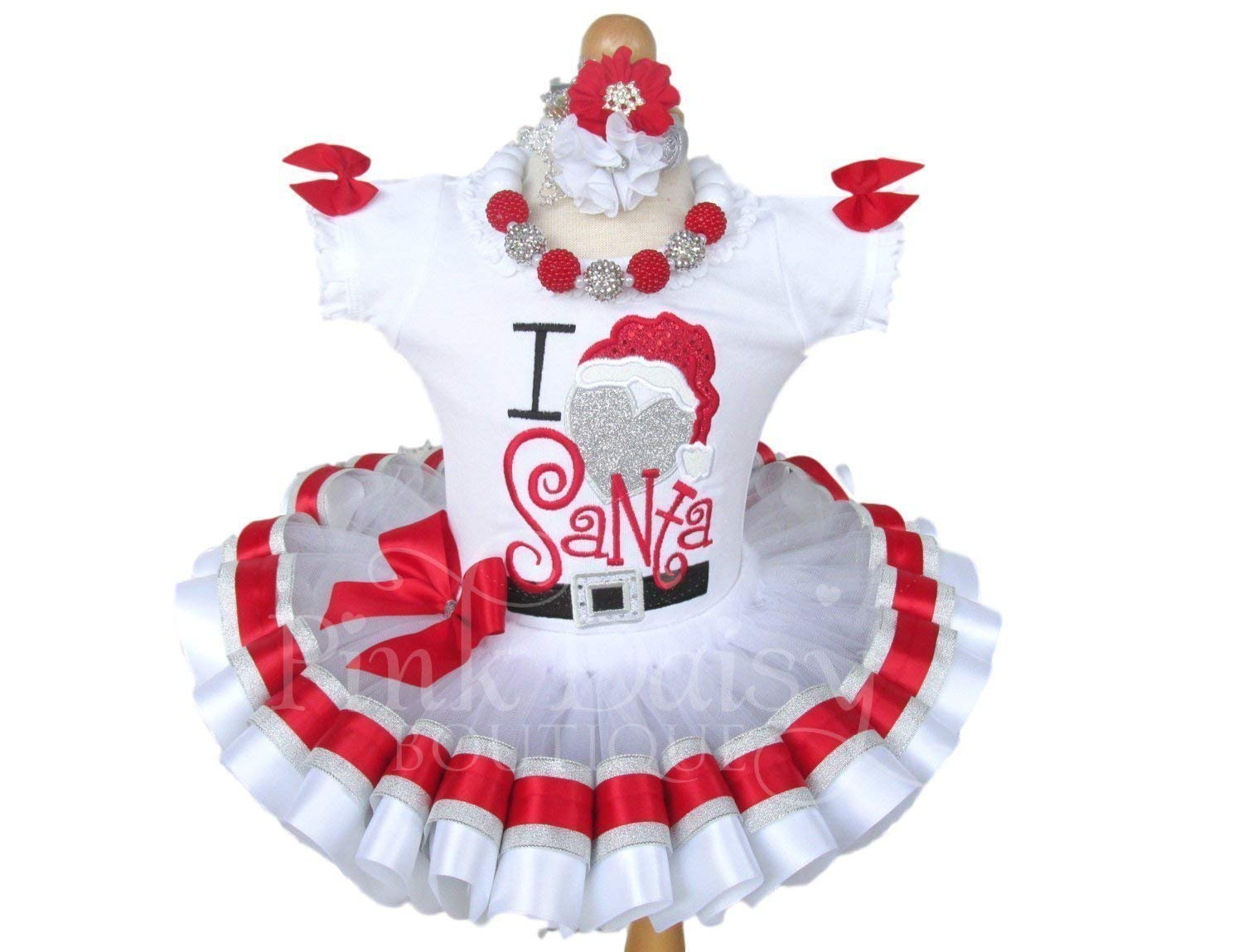 f11beb978 Get Quotations · Girls I Love Santa Christmas Outfit with Applique Shirt  and Ribbon Trim Tutu in Red White
