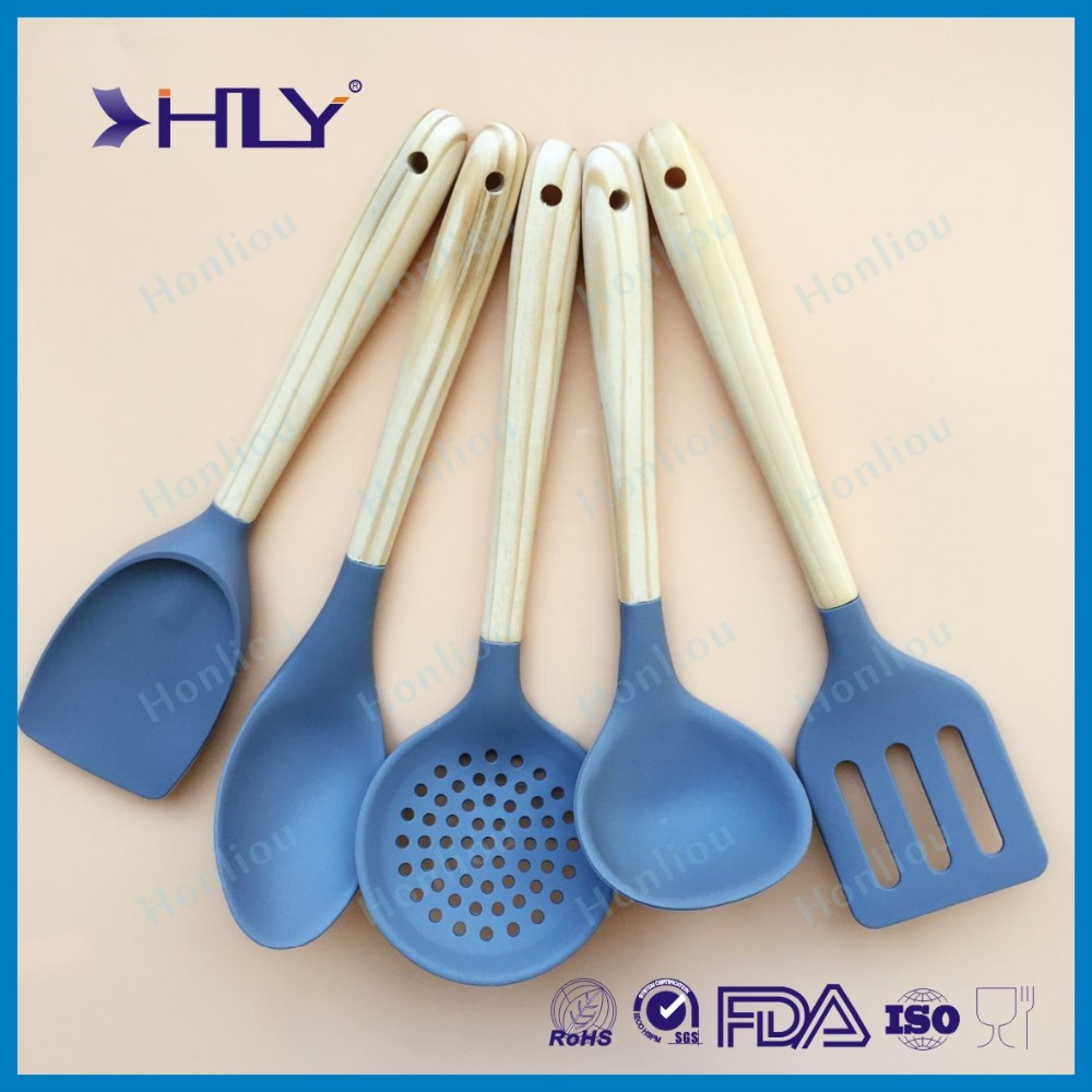 Wood Handle Silicone Kitchen Cooking Utensil Set - Buy Cooking ...