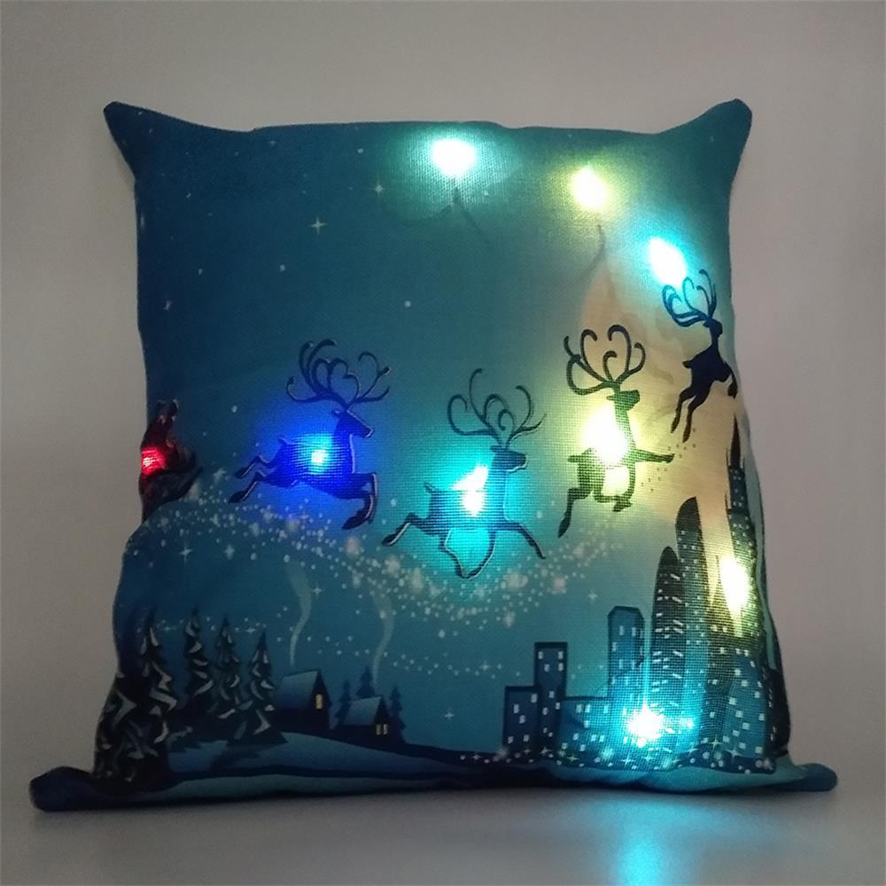 18*18 Inches Home Decorative Led Light Creative New Arrival Linen Merry Christmas Pillow Case