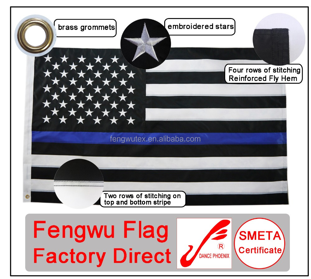 Factory direct 3x5ft 210D nylon Thin Blue Line flag with embroidered stars sewn stripes