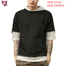 New Street Wear Summer Loose Fit Short Sleeve Hoodie Double Layer Singer Jersey Short Sweatshirt For Men