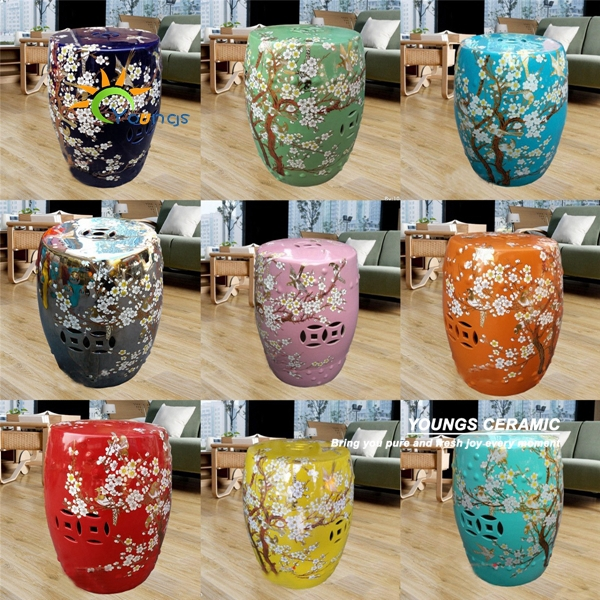 Mix Color Glazed Chinese Garden Ceramic Drum Stool For Retail And Wholesale