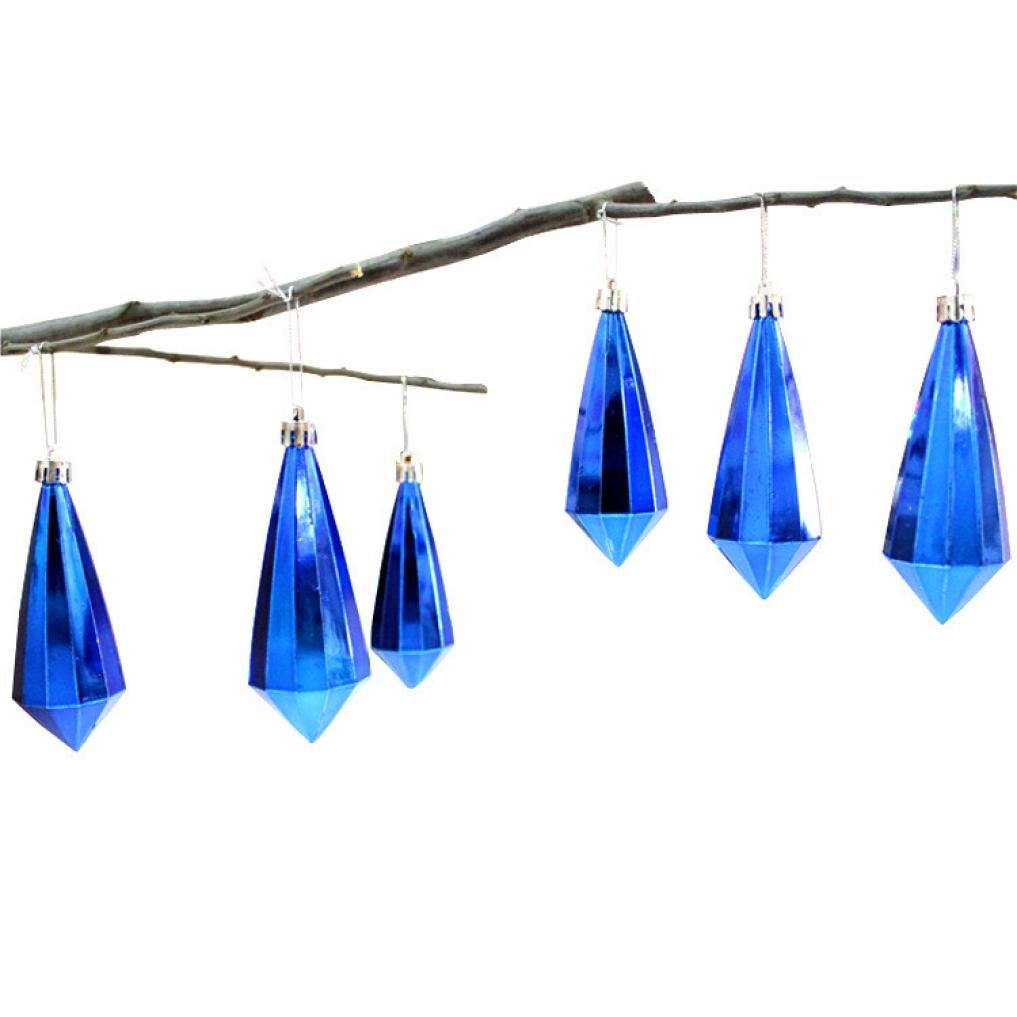 "Iusun Christmas Crystal Pendant Hanging Ornament, Xmas Tree Party Wedding Holiday Decoration (4.3X1.8"", Blue:6PC)"