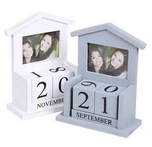 Custom logo wooden perpetual calendar with photo frame wood desktop decoration