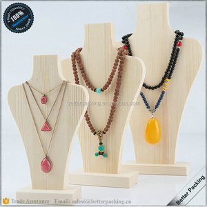 Pine Wood Jewelry Display Necklace Busts Display Mannequin Stand