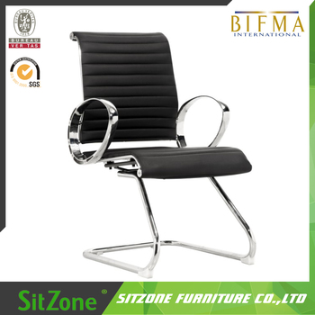 Awesome Ch 021C5 Modern Office Furniture Low Price Visitor Chair Black Genuine Leather Office Chair With No Wheels Buy Leather Office Chair Low Price Interior Design Ideas Gentotryabchikinfo