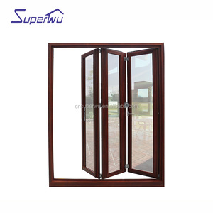 Soundproof thermal break wooden color Luxury Exterior Patio Lowes Glass Accordion Aluminium Bi-fold Doors