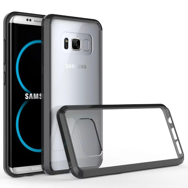 Hot Selling Soft TPU Bumper Hard Acrylic Crystal Clear Back Cover For Samsung Galaxy S8 Edge