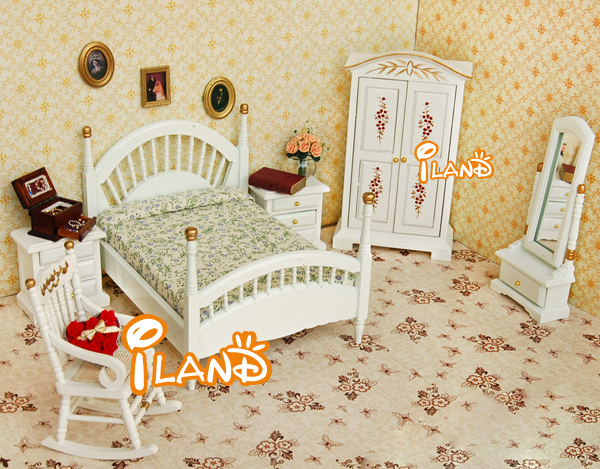 Attirant Dollhouse Bedroom White Bedroom Set/6 Wb059b   Buy Doll Bedroom,Mini Doll  Bed,White Bedroom Furniture Product On Alibaba.com