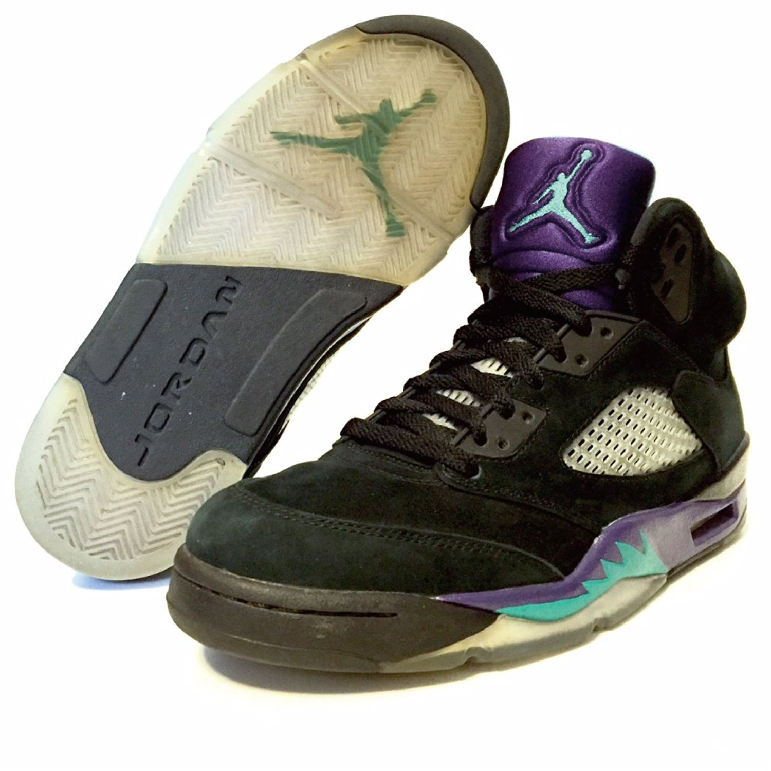 "NIKE AIR JORDAN 5 RETRO MENS 136027-007 ""GRAPES"" (8.5, BLACK / NEW EMERALD - GRAPE ICE)"