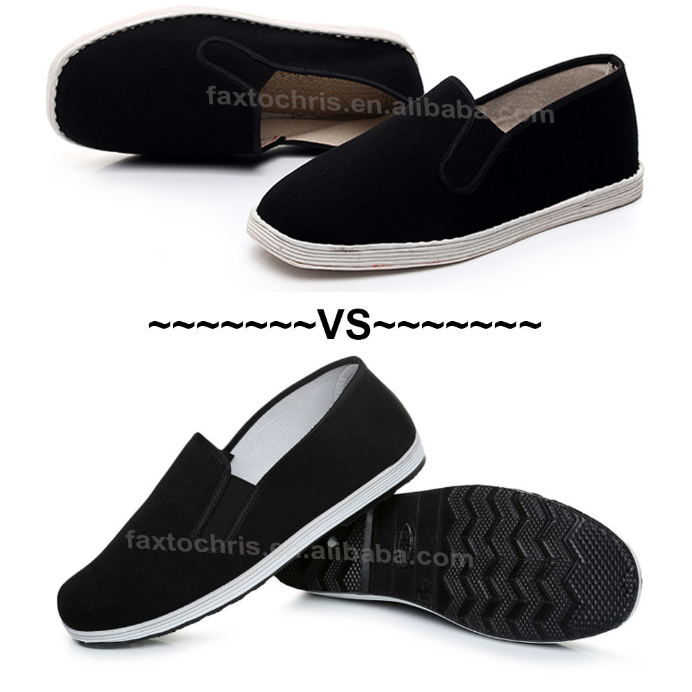 Black rubber kung fu shoes for man