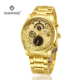 High quality japan movt quartz watch diamond stainless steel 22k gold watch gift